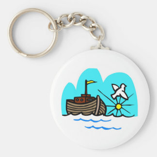 Noah's ark Christian artwork_1 Basic Round Button Keychain
