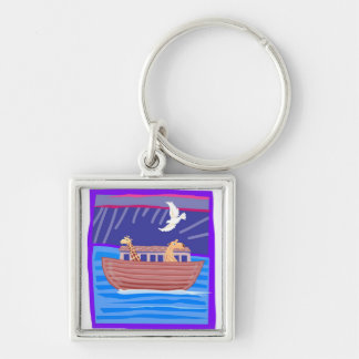 Noah's ark Christian artwork_2 Silver-Colored Square Keychain