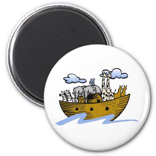 Noah's ark Christian artwork_3 2 Inch Round Magnet