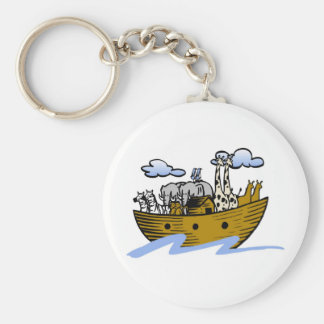 Noah's ark Christian artwork_3 Basic Round Button Keychain