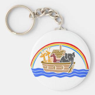 Noah's ark Christian artwork_4 Basic Round Button Keychain