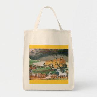 noahs ark folk art painting tote bag