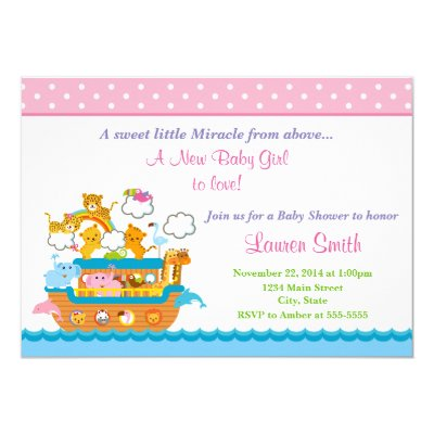 Pink Noahs Ark Baby Shower Invitation Zazzlecom