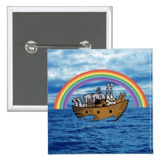 Noah's Ark - God's Rainbow Covenant 2 Inch Square Button