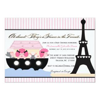 Noahs Ark Goes To Paris Invitation for Girls