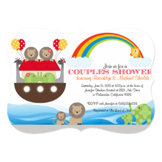 Noah's Ark Invitation - Couples Baby Shower