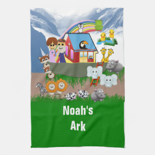 Noahs Ark Kitchen Hand Towels Zazzle