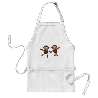 Noah's Ark monkey Couple in love holding hands Adult Apron