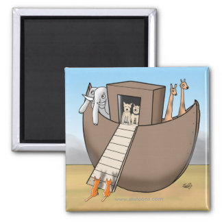 Noah's Ark - No Cats Allowed 2 Inch Square Magnet