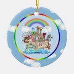 Noah's Ark Double-Sided Ceramic Round Christmas Ornament