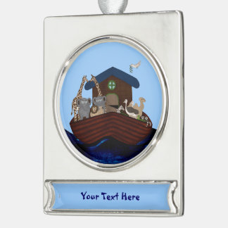 Noah's Ark Silver Plated Banner Ornament