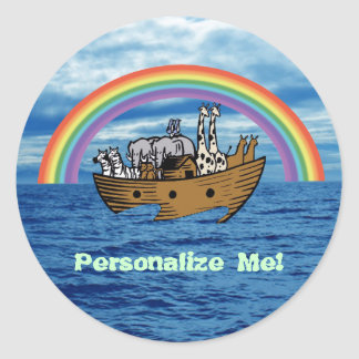 Noah's Ark & Rainbow Classic Round Sticker