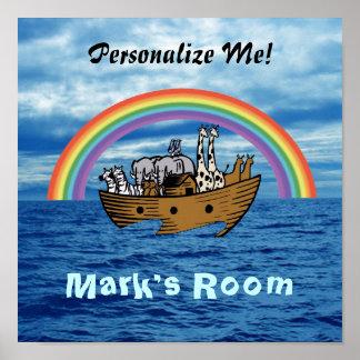 Noah's Ark & Rainbow Poster