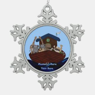 Noah's Ark Snowflake Pewter Christmas Ornament