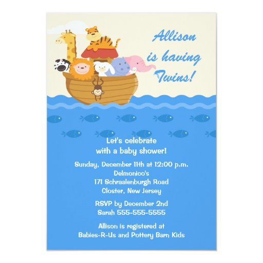 Noahs Ark Baby Shower Invitations as awesome invitation layout