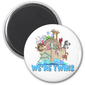 Noah's Ark We're Twins 2 Inch Round Magnet