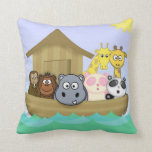 Noah's Ark with Animals Bible Story Cartoon Pillow
