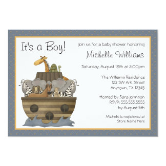 Noah's Ark Yellow Dots Baby Shower 5x7 Paper Invitation Card