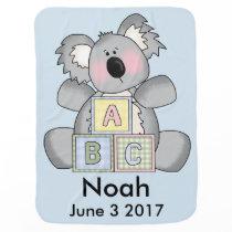 Noah's Personalized Koala Swaddle Blanket