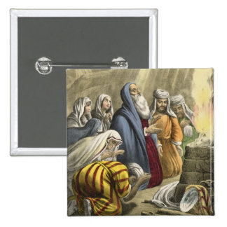 Noah's Sacrifice on Leaving the Ark, from a bible 2 Inch Square Button
