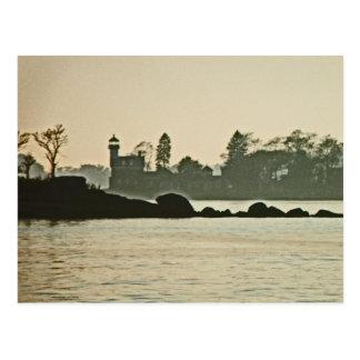 Noank Light House at Dusk Postcard