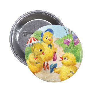 Noastalgic easter chicks pinback button