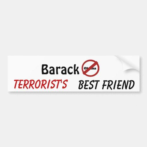 nobama, Barack, terrorista, mejor amigo Pegatina Para Auto