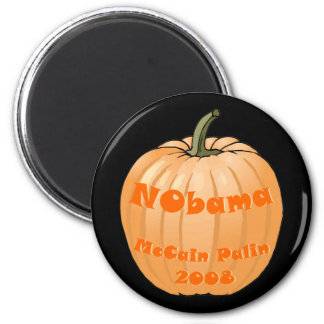 NObama McCain Palin 2008 Jack-o-lantern Halloween 2 Inch Round Magnet