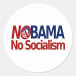NOBAMA no socialism Classic Round Sticker