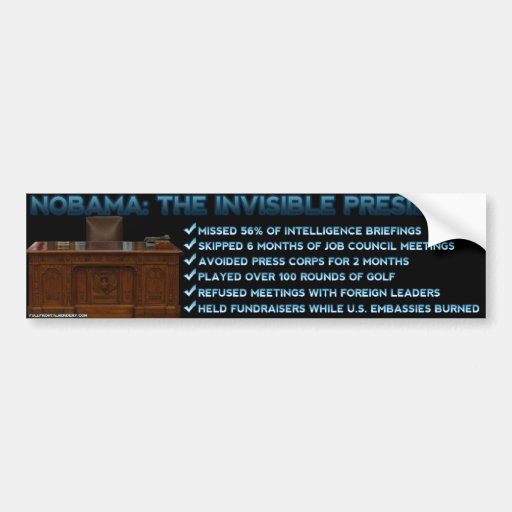 NOBAMA: The Invisible President Car Bumper Sticker