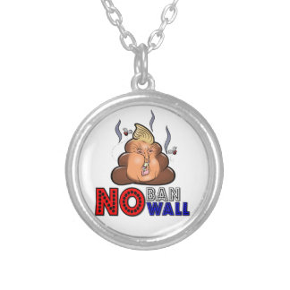 NoBanNoWall No Ban No Wall Protest Immigration Ban Silver Plated Necklace