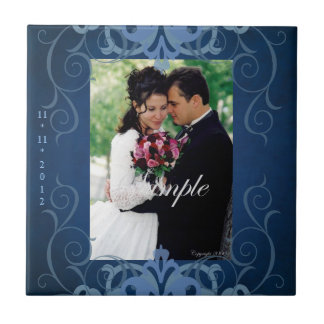 Nobel Add Photo Blue Save The Date Tile