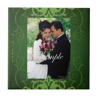 Nobel Add Photo Green Save The Date Tile