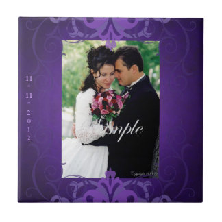 Nobel Add Photo Purple Save The Date Tile