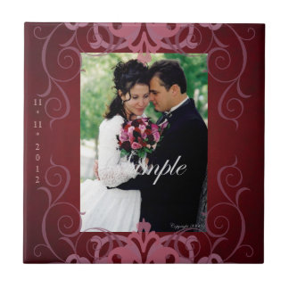 Nobel Add Photo Red Save The Date Tile