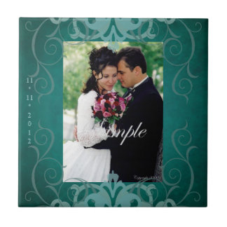 Nobel Add Photo Teal Save The Date Tile