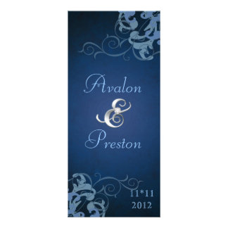 Nobel Blue Scroll Blue Wedding Program