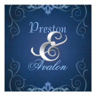 Nobel Blue Texture Silver Scroll Invitation
