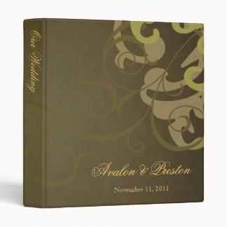 Nobel Gold Scroll Brown Wedding Binder