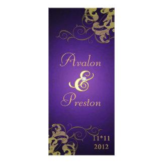 Nobel Gold Scroll Purple Wedding Program Rack Card Design