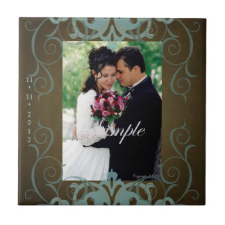 Nobel Photo Brown & Teal Save The Date Tile