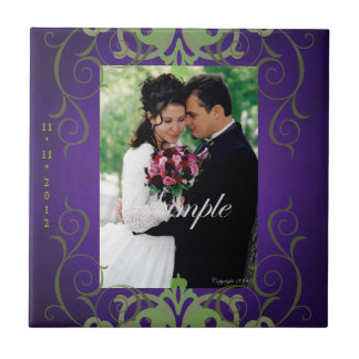Nobel Photo Purple & Green Save The Date Tile