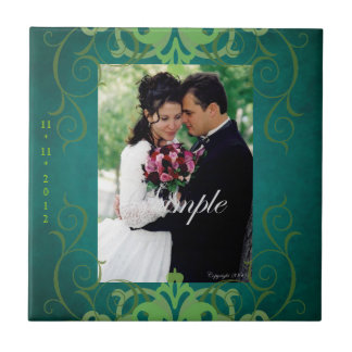 Nobel Photo Teal & Green Save The Date Tile