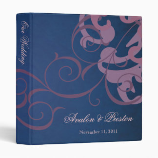 Nobel Pink Scroll Blue Wedding Binder