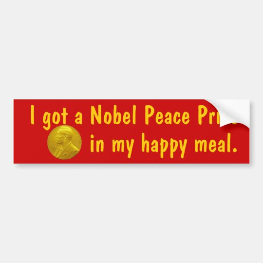 Nobel Prize in happy meal bumper sticker