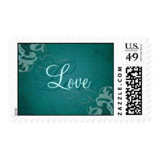 Nobel Teal Scroll Love Teal Postage Stamp