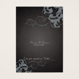 Noble Black & Silver Scroll Table Placecard Business Card