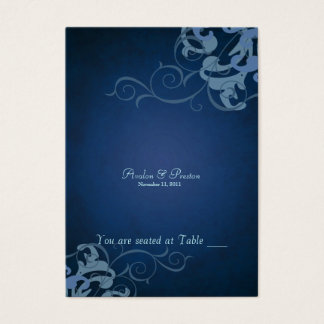 Noble Blue & Blue Scroll Table Placecard Business Card
