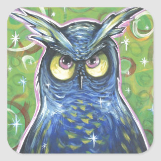 Noble Blue Owl Square Stickers