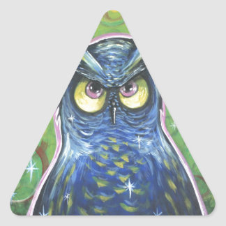 Noble Blue Owl Triangle Stickers